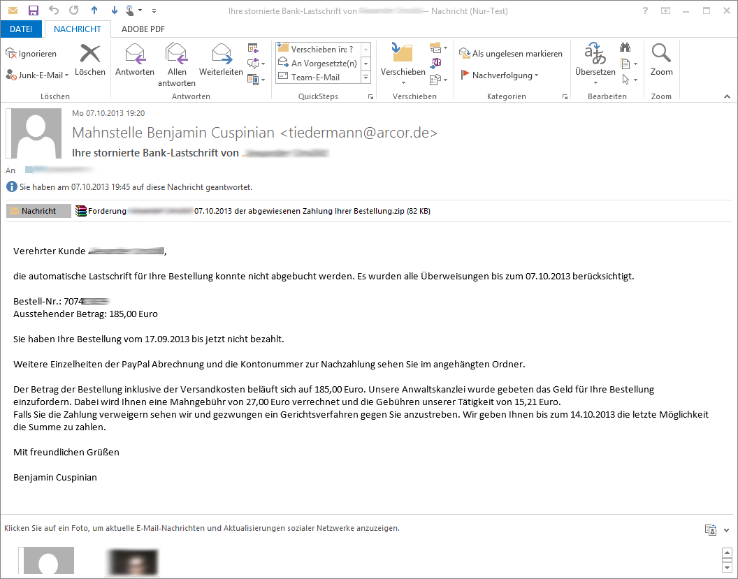 E-Mail von Mahnstelle Benjamin Cuspinian